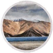 Massive Mountains And A Beautiful Lake Round Beach Towel