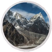 Round Beach Towel featuring the photograph Massive Tabuche Peak Nepal by Mike Reid