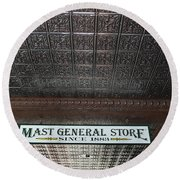 Round Beach Towel featuring the photograph Mast General Store II by Skip Willits