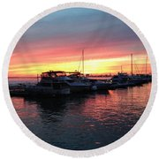 Masts And Steeples Round Beach Towel
