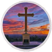Christian Cross And Amazing Sunset Round Beach Towel by Sam Antonio Photography