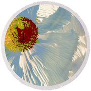 Round Beach Towel featuring the photograph Matilija Poppies Pop Art by Ben and Raisa Gertsberg