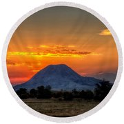 Round Beach Towel featuring the photograph Mato Paha, The Sacred Mountain by Fiskr Larsen