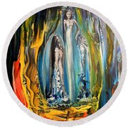 Round Beach Towel featuring the painting Matrimony  by Kicking Bear  Productions