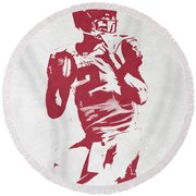 Matt Ryan Atlanta Falcons Pixel Art 2 Round Beach Towel by Joe Hamilton