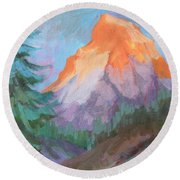 Round Beach Towel featuring the painting Matterhorn Sunrise by Diane McClary