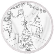 Round Beach Towel featuring the drawing Matthews Christmas by Artists With Autism Inc