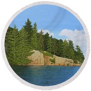Round Beach Towel featuring the painting Matthew's Paddle by Kenneth M Kirsch