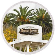 Round Beach Towel featuring the photograph Matties Tavern Los Olivos California by Floyd Snyder