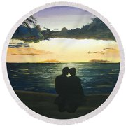 Maui Beach Sunset Round Beach Towel