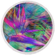 Maui Bird Of Paradise Round Beach Towel