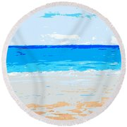 Round Beach Towel featuring the painting Maui No Ka Oi by Fred Wilson