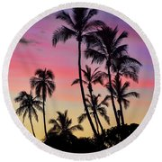 Maui Palm Tree Silhouettes Round Beach Towel