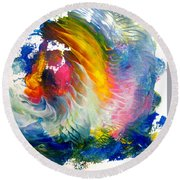 Round Beach Towel featuring the painting Maui Rainbow by Fred Wilson