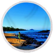 Round Beach Towel featuring the photograph Maui Sunrise On The Beach by Michael Rucker