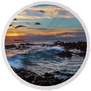 Maui Sunset At Secret Beach Round Beach Towel