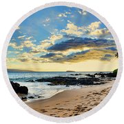 Maui Sunset Panorama Round Beach Towel