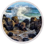 Maui Wave Crash Round Beach Towel