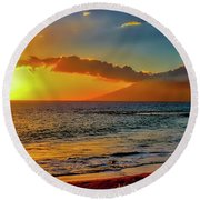 Maui Wedding Beach Sunset  Round Beach Towel
