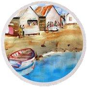 Mauricio's Village - Beach Huts Round Beach Towel by Carlin Blahnik