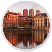 Round Beach Towel featuring the photograph Mauritshuis And Hofvijver At Golden Hour - The Hague by Barry O Carroll
