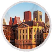 Round Beach Towel featuring the photograph Mauritshuis At Golden Hour - The Hague by Barry O Carroll