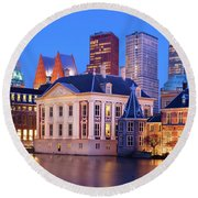 Round Beach Towel featuring the photograph Mauritshuis Museum At Blue Hour by Barry O Carroll