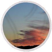 Mauve Clouds In A Blue Sky  Round Beach Towel by Lyle Crump