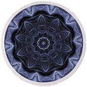 Mauve Rose Mandala Round Beach Towel