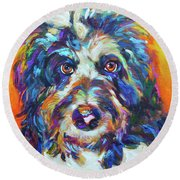 Round Beach Towel featuring the painting Max, The Aussiedoodle by Robert Phelps