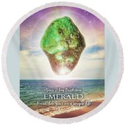 May Birthstone Emerald Round Beach Towel