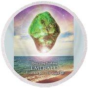 May Birthstone Emerald Round Beach Towel