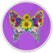 May Butterfly Round Beach Towel