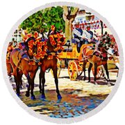 May Day Fair In Sevilla, Spain Round Beach Towel