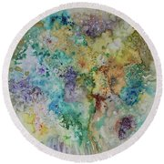 Round Beach Towel featuring the painting May Flowers by Joanne Smoley