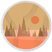 Round Beach Towel featuring the digital art May Morning Sunrise by Val Arie