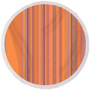 Round Beach Towel featuring the digital art May Morning Vertical Stripes by Val Arie