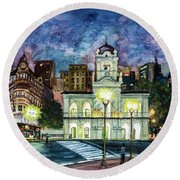 Round Beach Towel featuring the painting May Square, Buenos Aires by Bernardo Galmarini