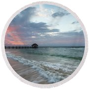 Mayan Sunrise Round Beach Towel