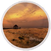 Mayan Sunset Round Beach Towel by Dennis Hedberg