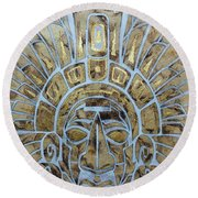 Round Beach Towel featuring the painting Mayan Warrior by J- J- Espinoza