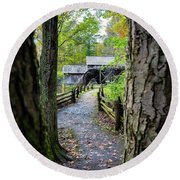 Maybry Mill Through The Trees Round Beach Towel