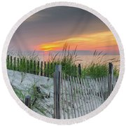 Round Beach Towel featuring the photograph Mayflower Beach by Mike Ste Marie