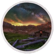 Round Beach Towel featuring the photograph Mayflower Milky Way by Darren White