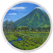 Mayon Volcano Round Beach Towel