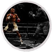 Mayweather And Pacquiao Round Beach Towel by Brian Reaves