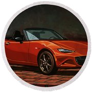 Mazda Mx-5 Miata 2015 Painting Round Beach Towel