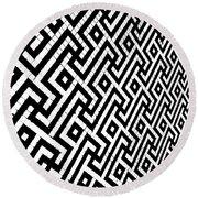 Maze Print Round Beach Towel