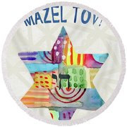 Mazel Tov Colorful Star- Art By Linda Woods Round Beach Towel