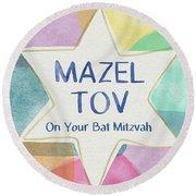 Mazel Tov On Your Bat Mitzvah- Art By Linda Woods Round Beach Towel